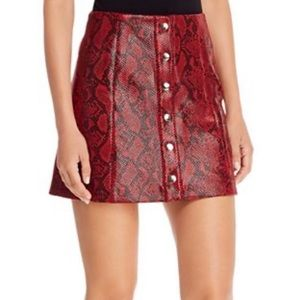 ASTR Red Snake Button Front Skirt